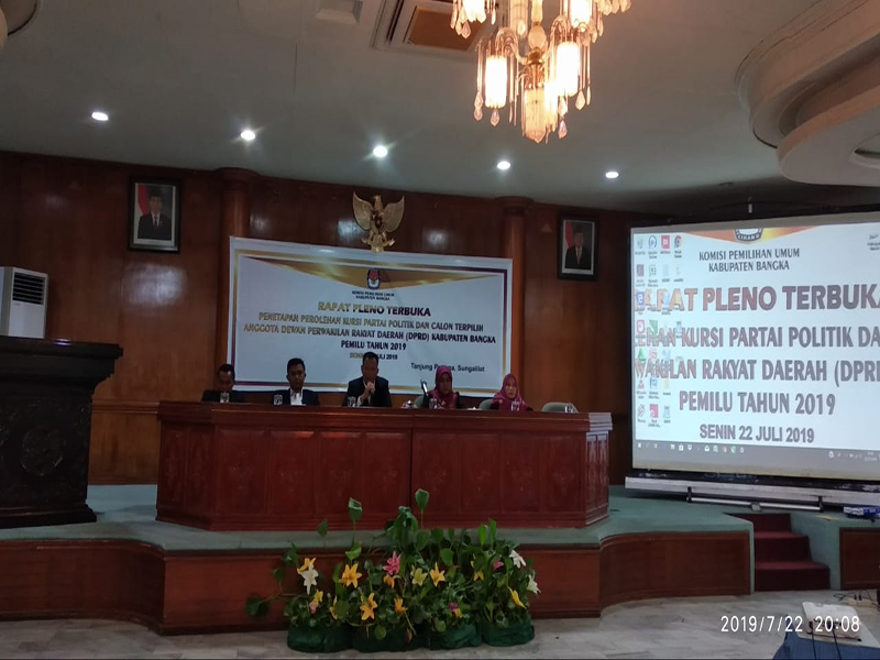 Pleno Penetapan Perolehan Kursi Partai Politik dan Calon Terpilih Anggota DPRD Kabupaten Bangka Tunggu Keputusan MK