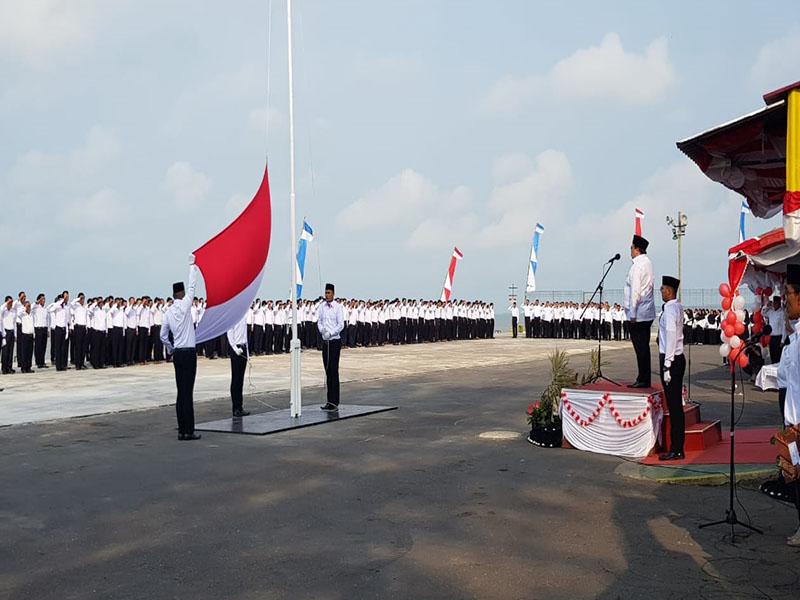 PT Timah Tbk Bersama BUMN Gelar Upacara HUT ke-74 RI di Pelabuhan Pusmet Muntok