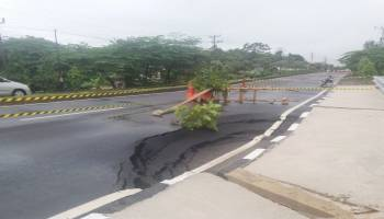 Baru Tiga Bulan Diperbaiki, Jalan Muntok - Pangkalpinang Sudah Amblas