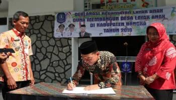 Bupati Tandatangani Deklarasi Bangka Sebagai Kabupaten Layak Anak