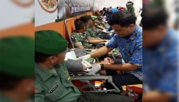 Korem 045 Garuda Jaya Gelar Donor Darah di Trans Mart Pangkalpinang