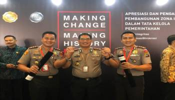 Polres Bangka Tengah Raih Penghargaan Wilayah Bebas Korupsi dan Wilayah Birokrasi Bersih Melayani 2019