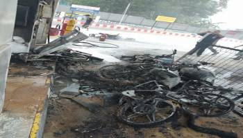 SPBU Desa Kace Kabupaten Bangka Terbakar, Lima Unit Sepeda Motor dan Satu Unit Mobil Hangus